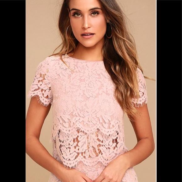 a9e55f3c406501 Lulu s Tops - Lulu s Heartbeats Blush Pink Lace Crop Top
